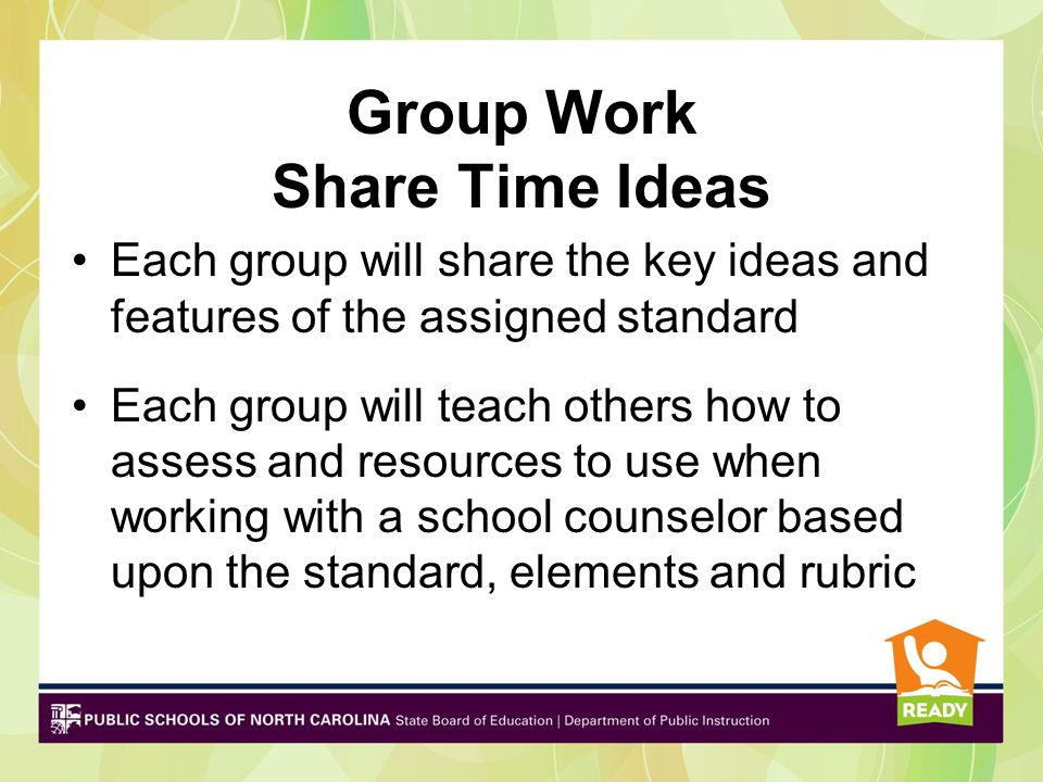 Deeper Dive Group Work Complete a poster or electronic presentation Choose a speaker Group Share