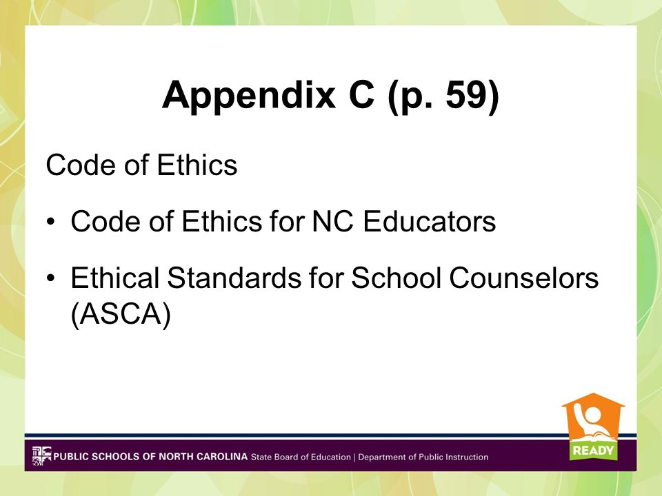 Appendix A (p.32) ASCA National Model: A Framework for School Counseling Programs Forms and materials Framework for data-driven, comprehensive school counseling program
