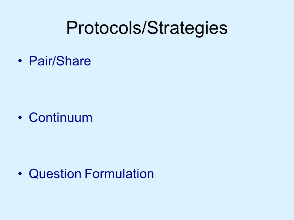 Protocols/Strategies Pair/Share Continuum Question Formulation