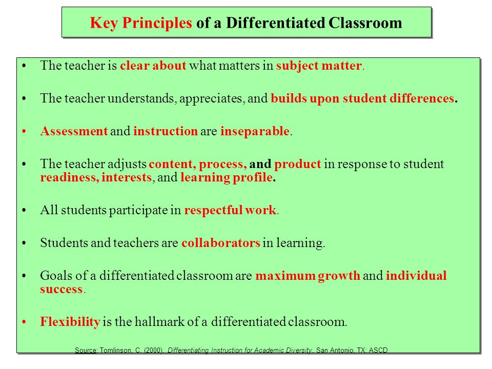 Key Principles of a Differentiated Classroom The teacher is clear about what matters in subject matter.