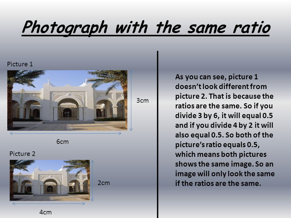 Photograph with the same ratio 3cm 6cm 2cm 4cm As you can see, picture 1 doesn't look different from picture 2. That is because the ratios are the sam