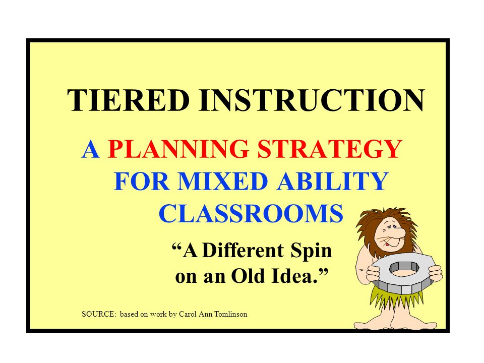 TIERED INSTRUCTION A PLANNING STRATEGY FOR MIXED ABILITY CLASSROOMS A Different Spin on an Old Idea. SOURCE: based on work by Carol Ann Tomlinson