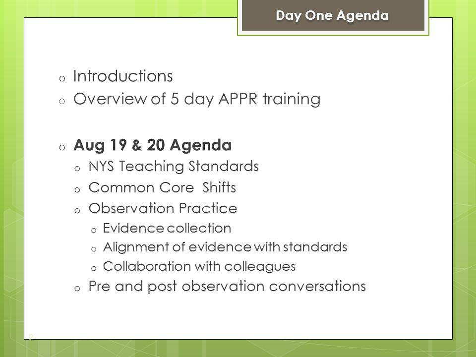 2 Day One Agenda