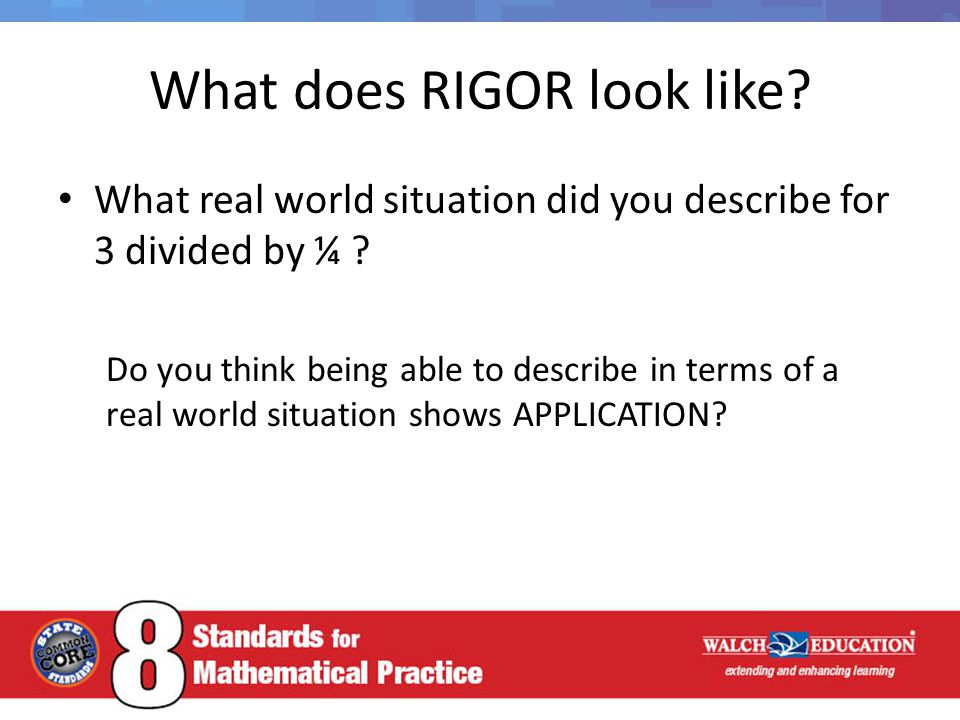 What does RIGOR look like.What real world situation did you describe for 3 divided by ¼ .
