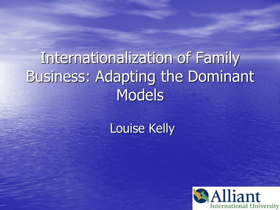 Internationalization of Family Business Examine phenomenon of FB in light of two predominant theories of IB Examine phenomenon of FB in light of two predominant theories of IB –Dunning's ecletic paradigm –Uppsala model of internationalization