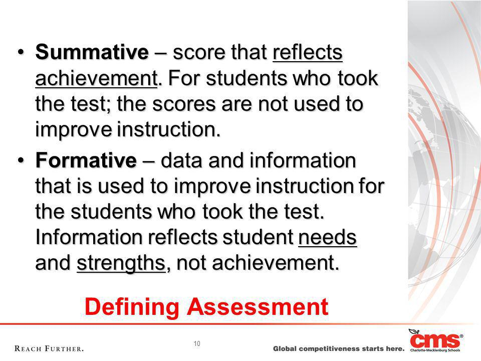 10 Defining Assessment Summative – score that reflects achievement.