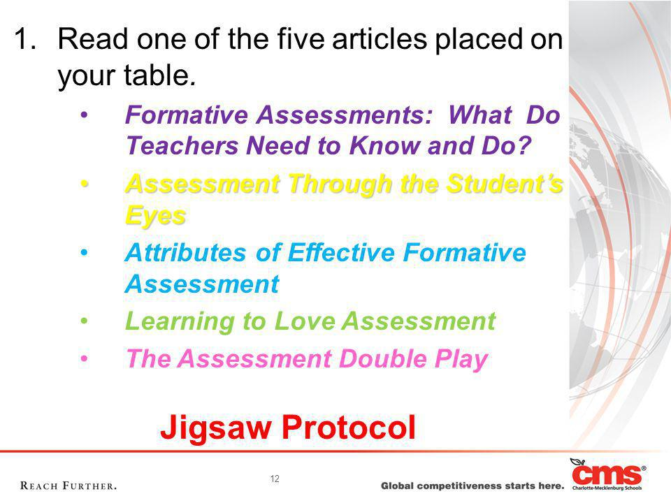 12 Jigsaw Protocol 1.Read one of the five articles placed on your table.