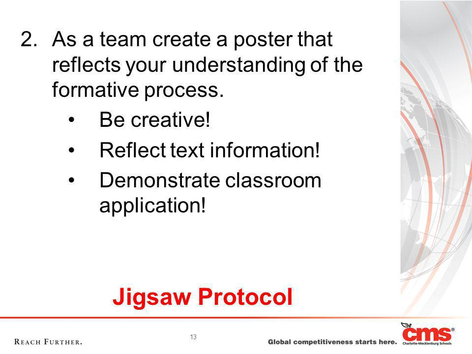 13 Jigsaw Protocol 2.As a team create a poster that reflects your understanding of the formative process. Be creative! Reflect text information! Demon
