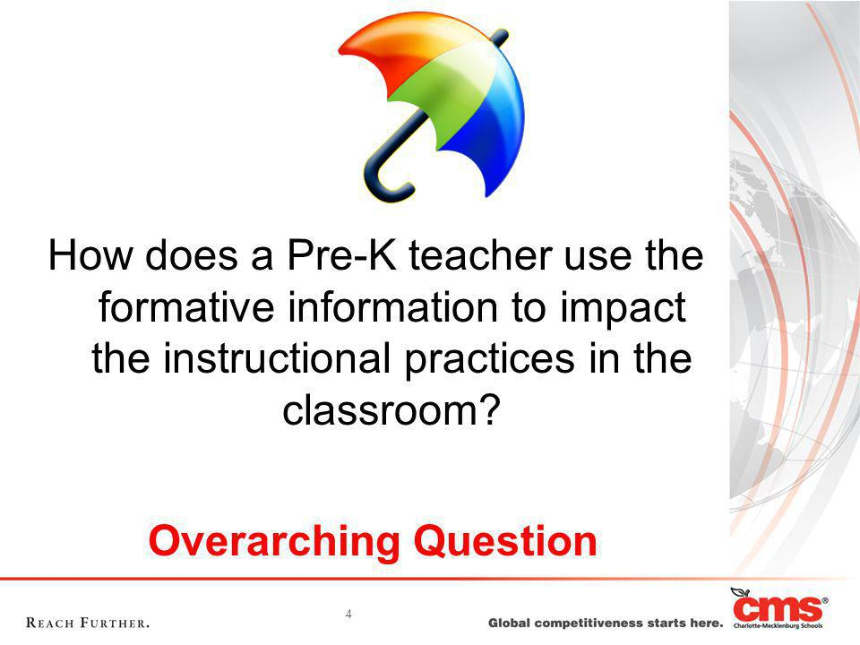 4 How does a Pre-K teacher use the formative information to impact the instructional practices in the classroom? Overarching Question