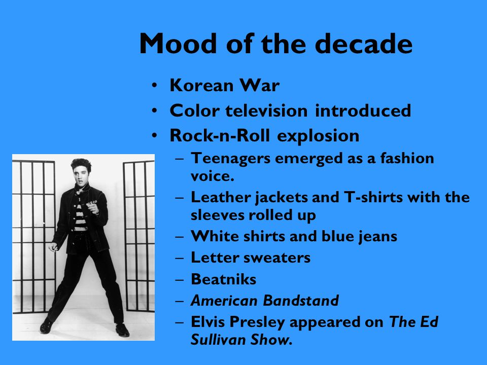 Mood of the decade Feminism, sexual equality, women's lib, equal rights –Bra burning –Women no longer wear girdles –Women buy pantyhose –Women wear pants and pantsuits –Double-knit polyester man- made fabrics –Micro, mini, midi, and maxi skirts