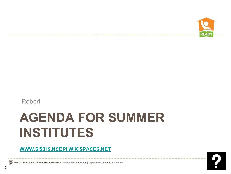 AGENDA FOR SUMMER INSTITUTES WWW.SI2012.NCDPI.WIKISPACES.NET WWW.SI2012.NCDPI.WIKISPACES.NET Robert 5
