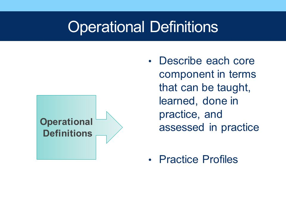 Operational Definitions Describe each core component in terms that can be taught, learned, done in practice, and assessed in practice Practice Profile