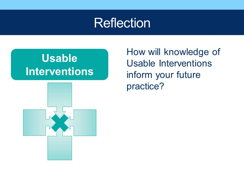 Usable Interventions Reflection How will knowledge of Usable Interventions inform your future practice?