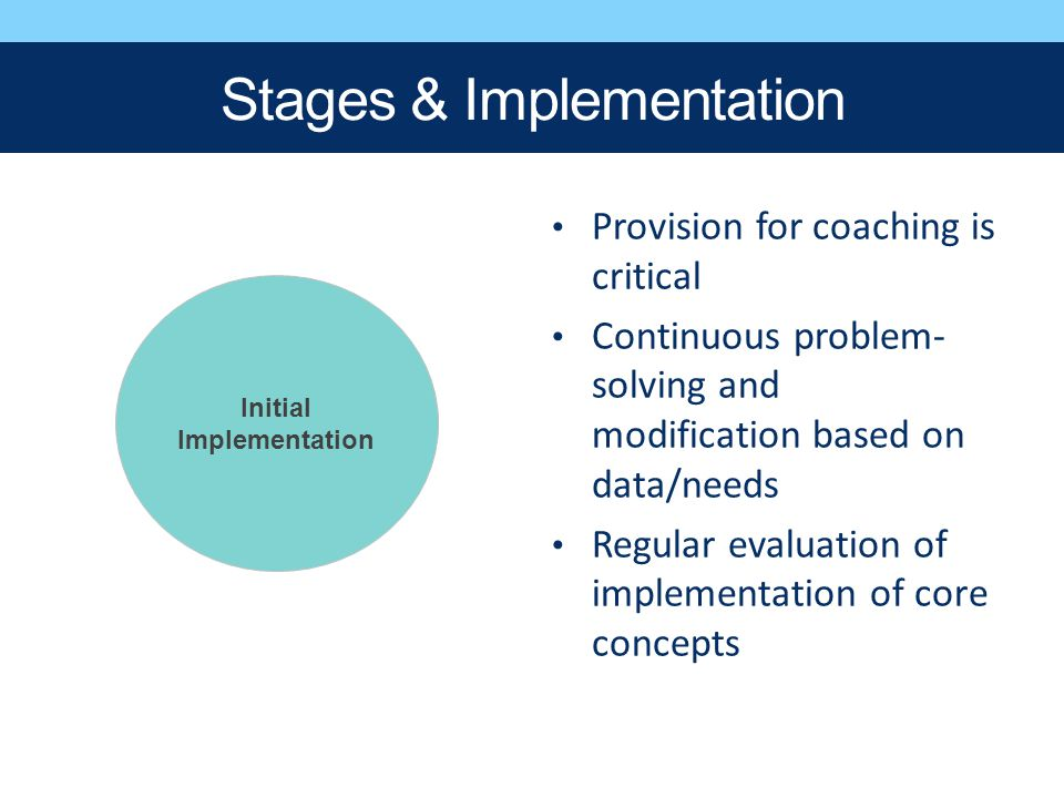 Stages & Implementation Provision for coaching is critical Continuous problem- solving and modification based on data/needs Regular evaluation of impl