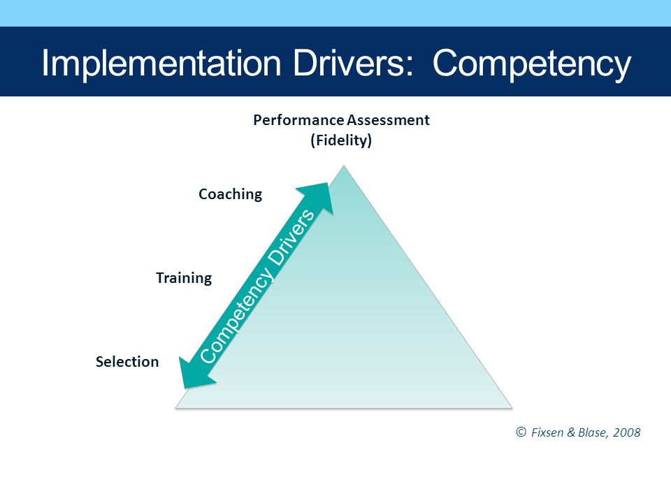 Performance Assessment (Fidelity) Coaching Training Selection Competency Drivers © Fixsen & Blase, 2008 Implementation Drivers: Competency