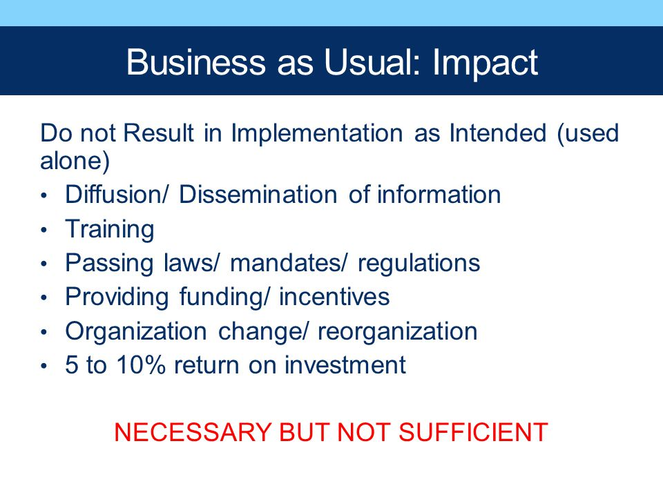 Business as Usual: Impact Do not Result in Implementation as Intended (used alone) Diffusion/ Dissemination of information Training Passing laws/ mand