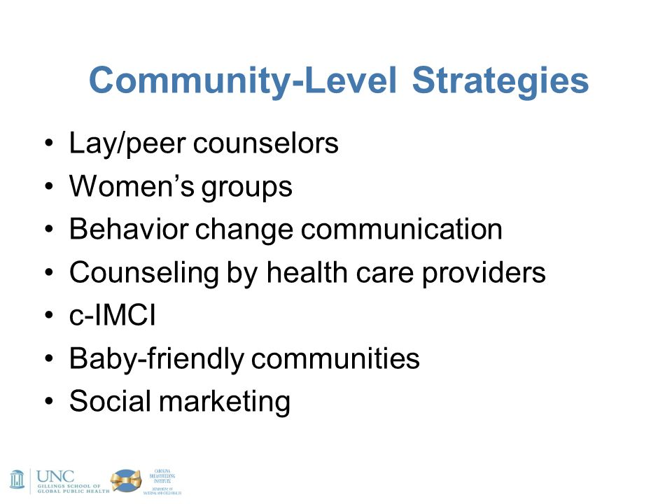 Community-Level Strategies Lay/peer counselors Women's groups Behavior change communication Counseling by health care providers c-IMCI Baby-friendly c
