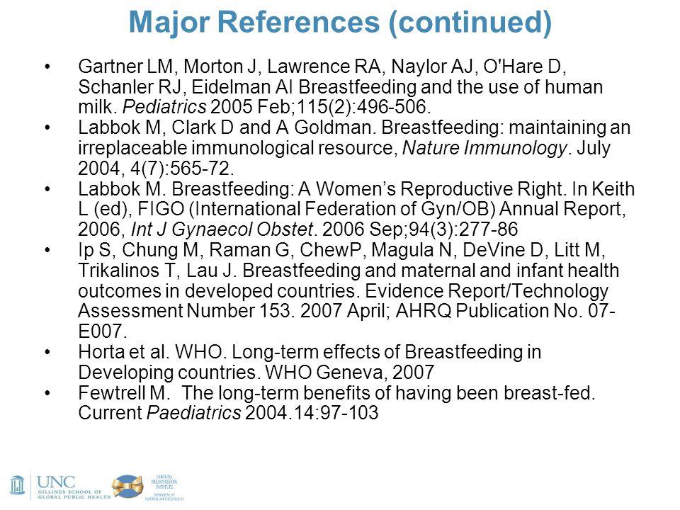 Major References (continued) Gartner LM, Morton J, Lawrence RA, Naylor AJ, O'Hare D, Schanler RJ, Eidelman AI Breastfeeding and the use of human milk.