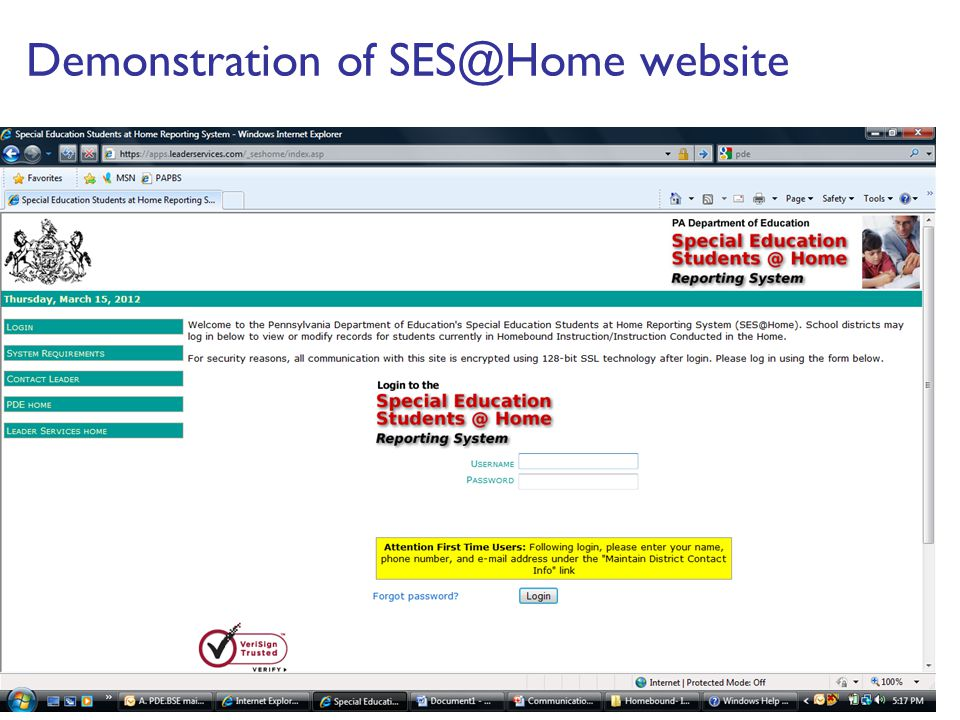 Demonstration of SES@Home website