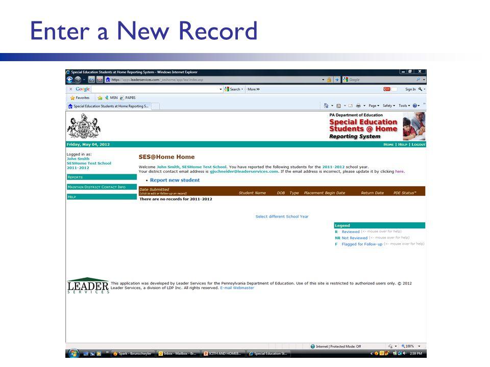 Enter a New Record