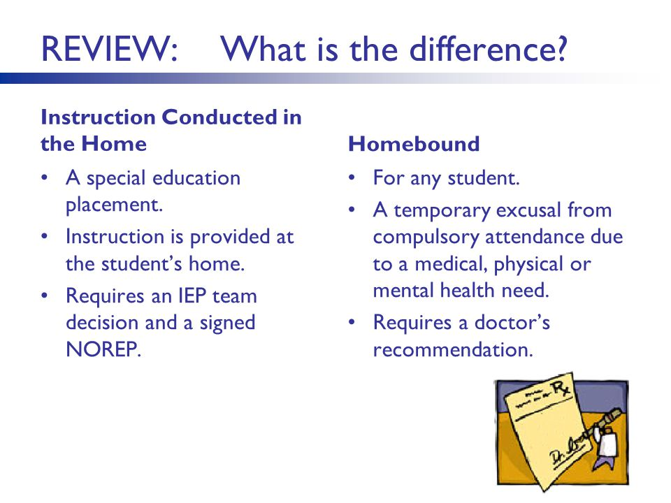 REVIEW: What is the difference. Instruction Conducted in the Home A special education placement.