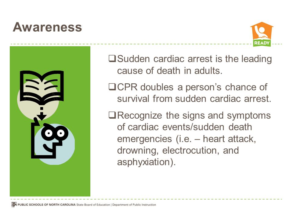 Awareness  Sudden cardiac arrest is the leading cause of death in adults.