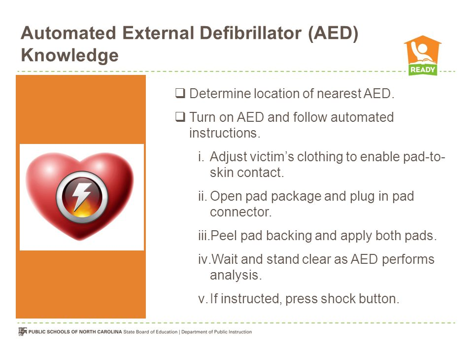 Automated External Defibrillator (AED) Knowledge  Determine location of nearest AED.