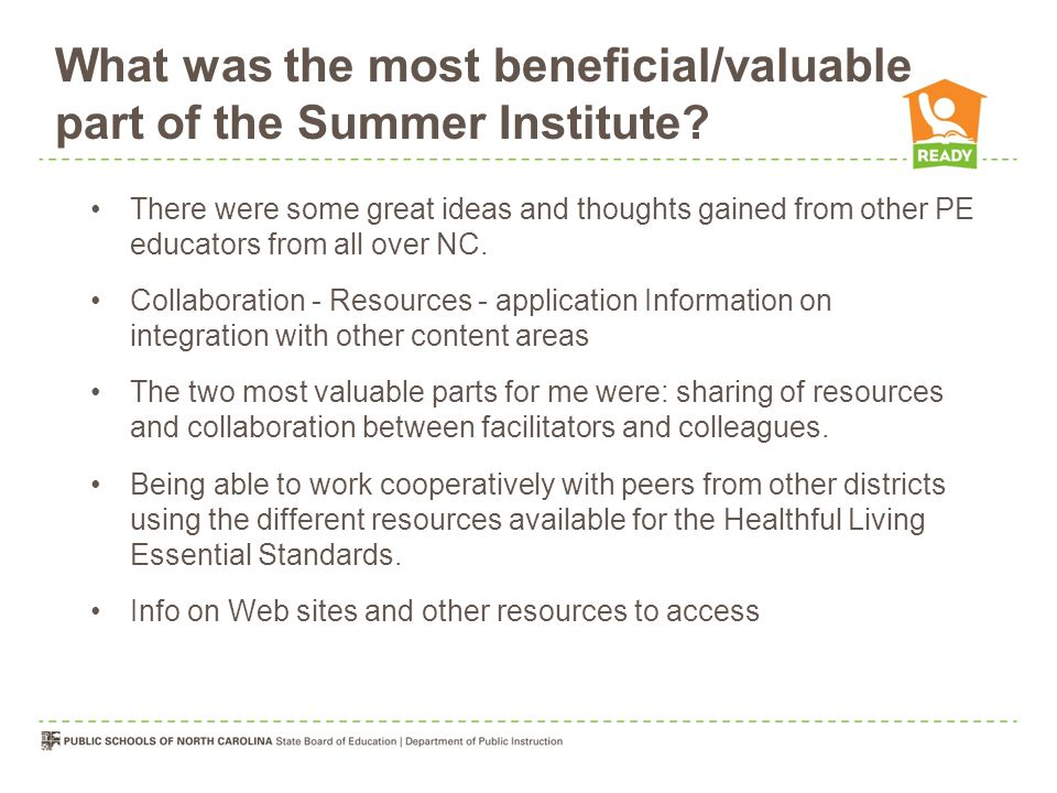 What was the most beneficial/valuable part of the Summer Institute.