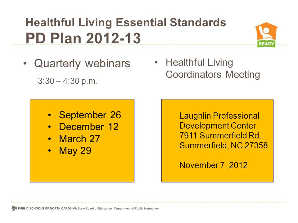 Healthful Living Essential Standards PD Plan 2012-13 Quarterly webinars 3:30 – 4:30 p.m.