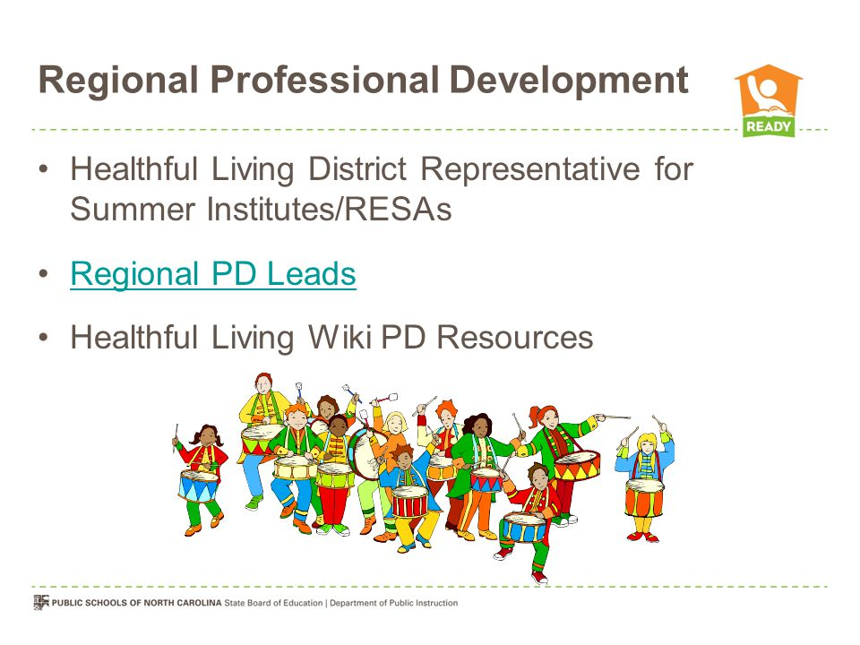Regional Professional Development Healthful Living District Representative for Summer Institutes/RESAs Regional PD Leads Healthful Living Wiki PD Resources