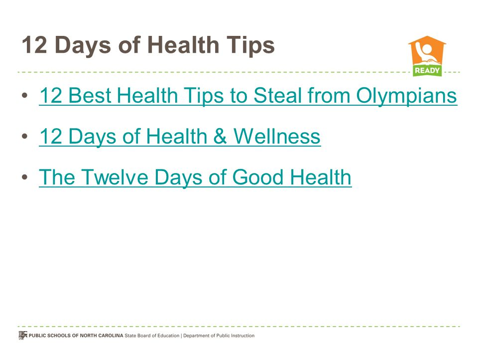 12 Days of Health Tips 12 Best Health Tips to Steal from Olympians 12 Days of Health & Wellness The Twelve Days of Good Health
