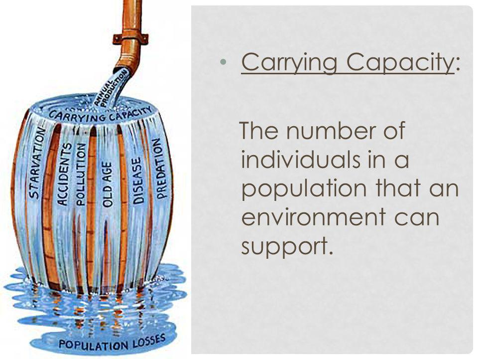 Carrying Capacity: The number of individuals in a population that an environment can support.