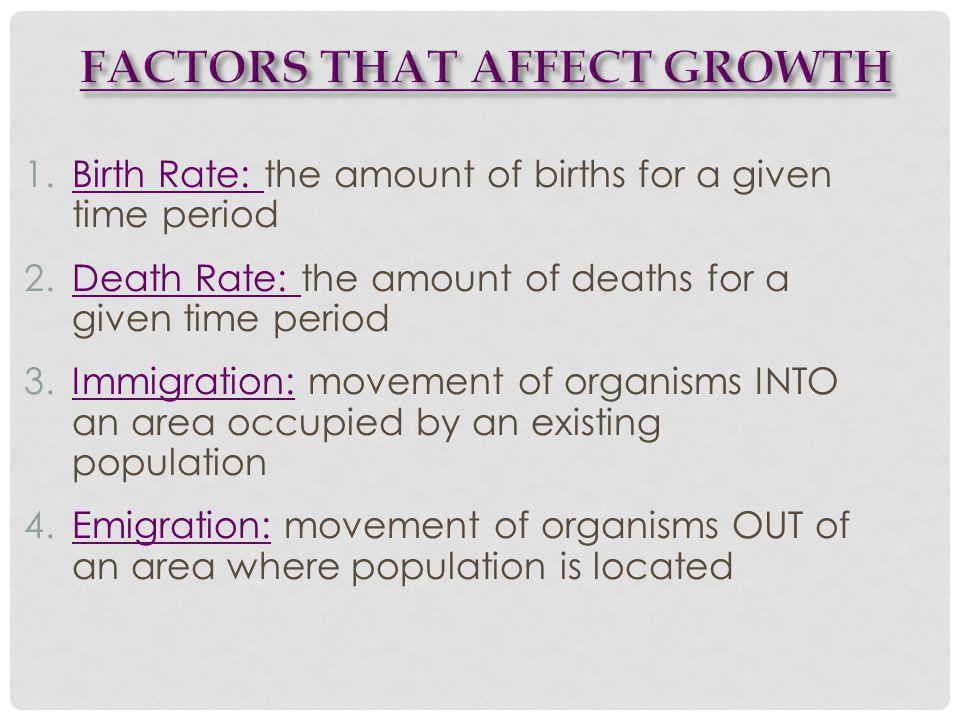 1.Birth Rate: the amount of births for a given time period 2.Death Rate: the amount of deaths for a given time period 3.Immigration: movement of organisms INTO an area occupied by an existing population 4.Emigration: movement of organisms OUT of an area where population is located