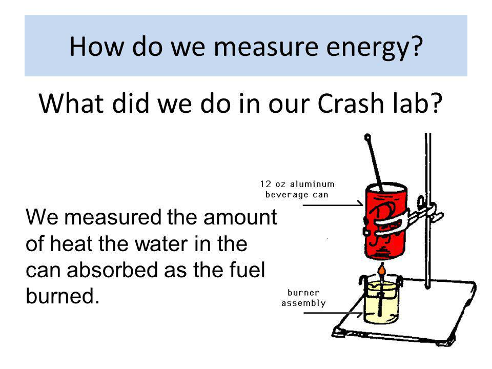 How do we measure energy.What did we do in our Crash lab.