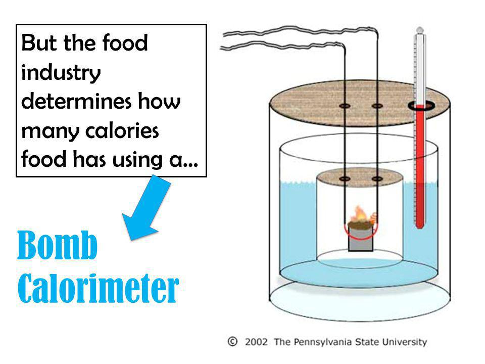 Bomb Calorimeter But the food industry determines how many calories food has using a…