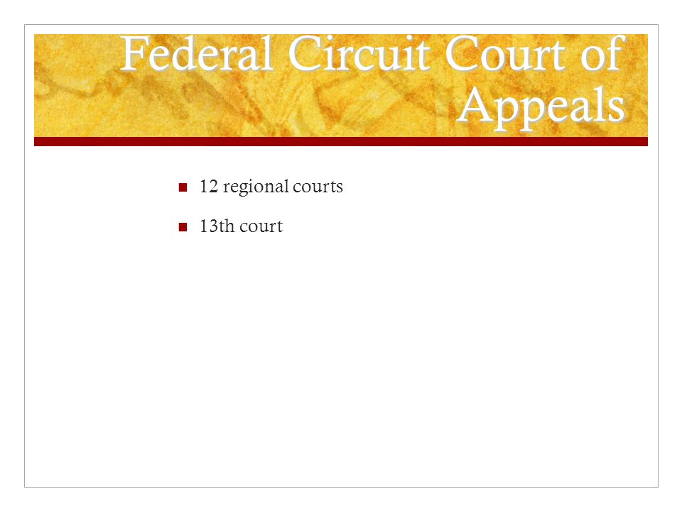 Federal Circuit Court of Appeals 12 regional courts 13th court