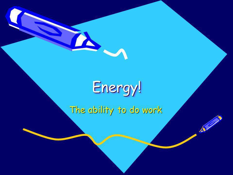 Energy!Energy! The ability to do work