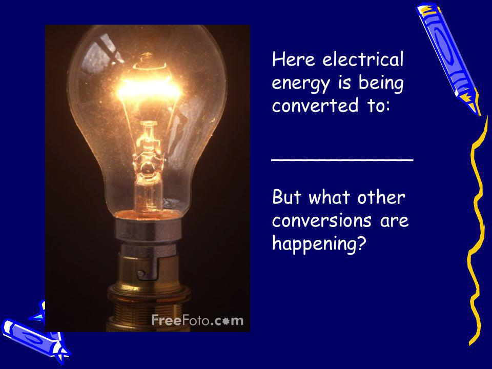 Here electrical energy is being converted to: ____________ But what other conversions are happening?