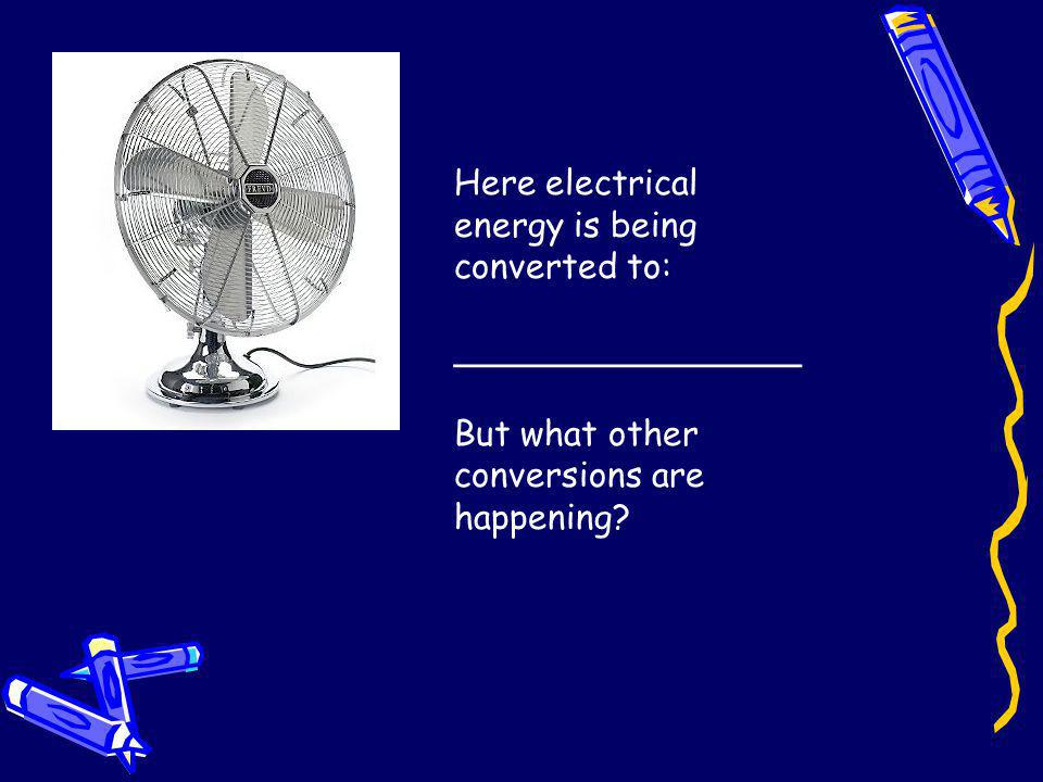 Here electrical energy is being converted to: ________________ But what other conversions are happening?