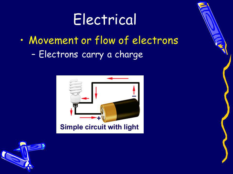 Electrical Movement or flow of electrons –Electrons carry a charge