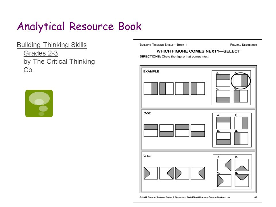 Analytical Resource Book Building Thinking Skills Grades 2-3 by The Critical Thinking Co.