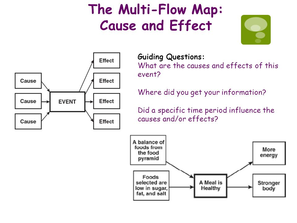 The Multi-Flow Map: Cause and Effect Guiding Questions: What are the causes and effects of this event? Where did you get your information? Did a speci