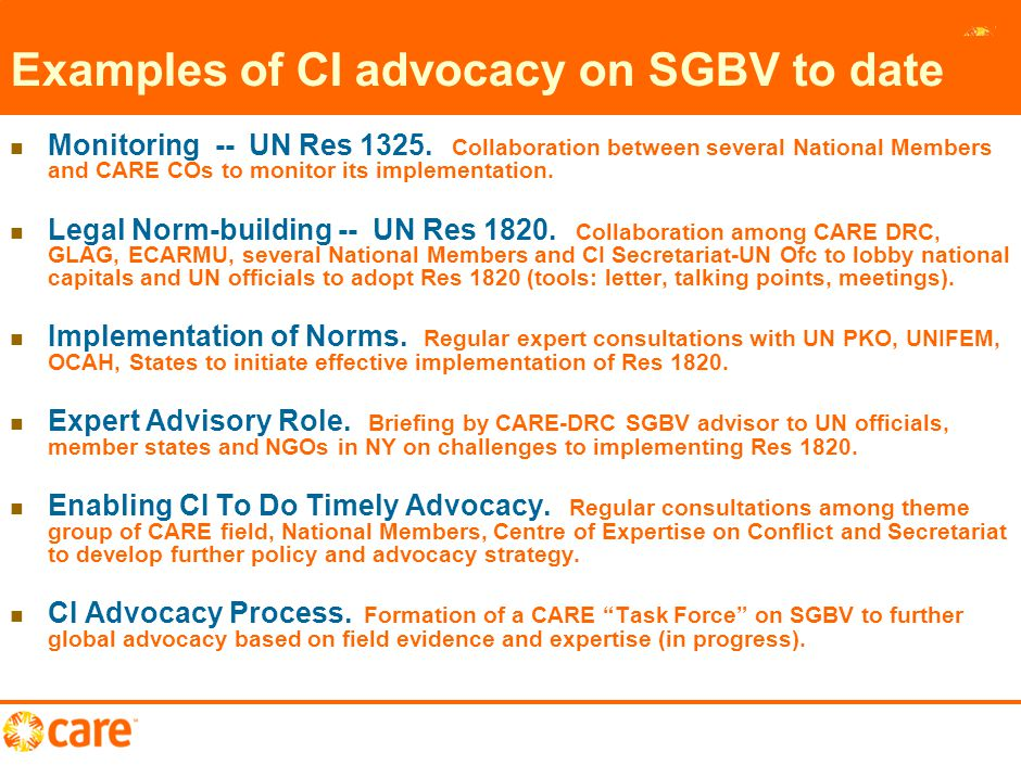 11 Examples of CI advocacy on SGBV to date Monitoring -- UN Res 1325.