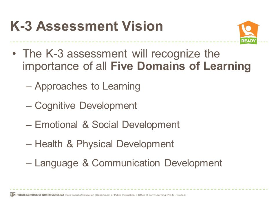 K-3 Assessment Vision The K-3 assessment will recognize the importance of all Five Domains of Learning –Approaches to Learning –Cognitive Development