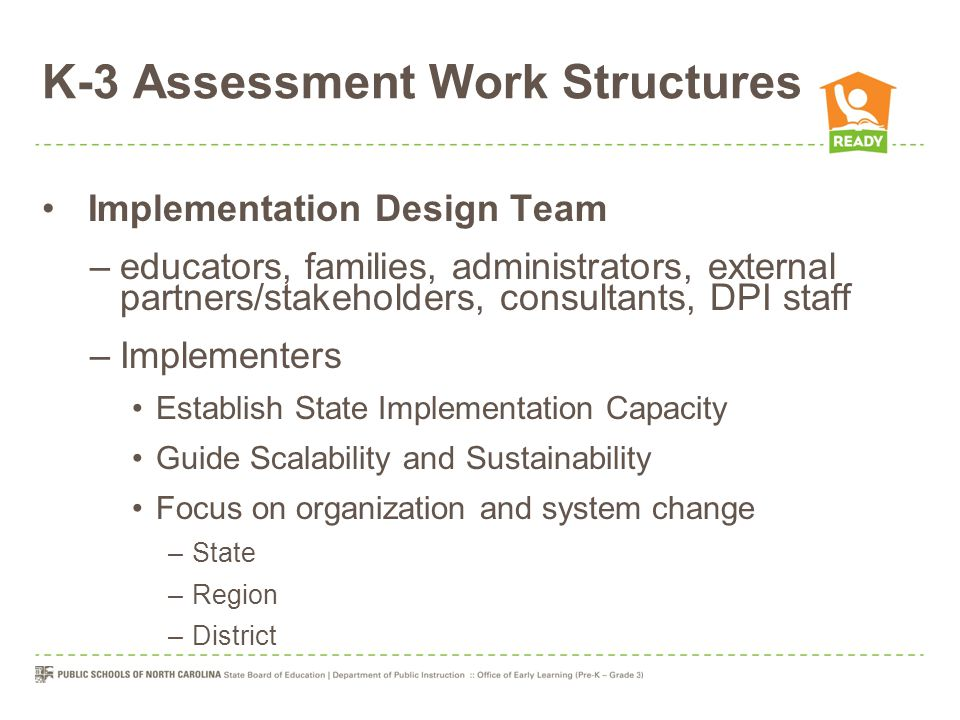 Implementation Design Team –educators, families, administrators, external partners/stakeholders, consultants, DPI staff –Implementers Establish State