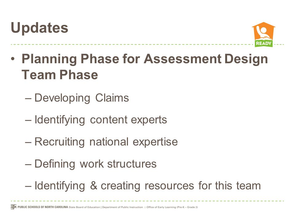 Updates Planning Phase for Assessment Design Team Phase –Developing Claims –Identifying content experts –Recruiting national expertise –Defining work