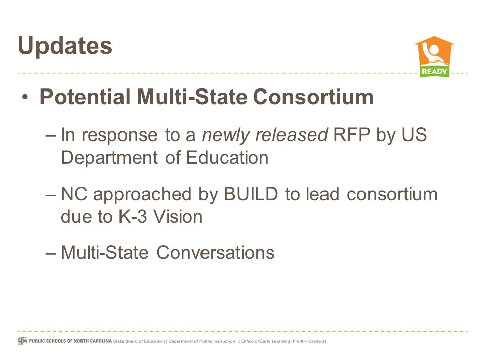 Updates Potential Multi-State Consortium –In response to a newly released RFP by US Department of Education –NC approached by BUILD to lead consortium