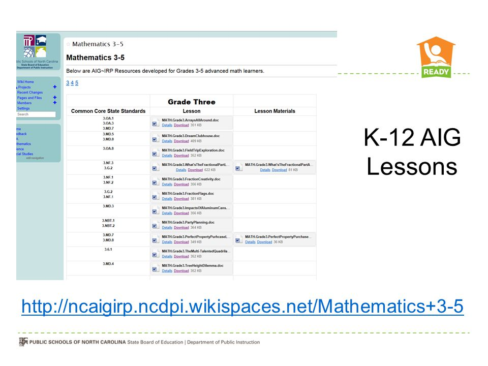 K-12 AIG Lessons http://ncaigirp.ncdpi.wikispaces.net/Mathematics+3-5