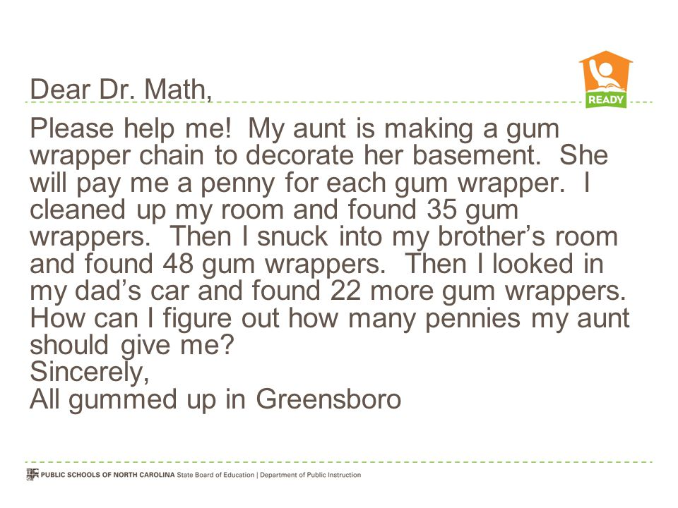 Dear Dr. Math, Please help me. My aunt is making a gum wrapper chain to decorate her basement.