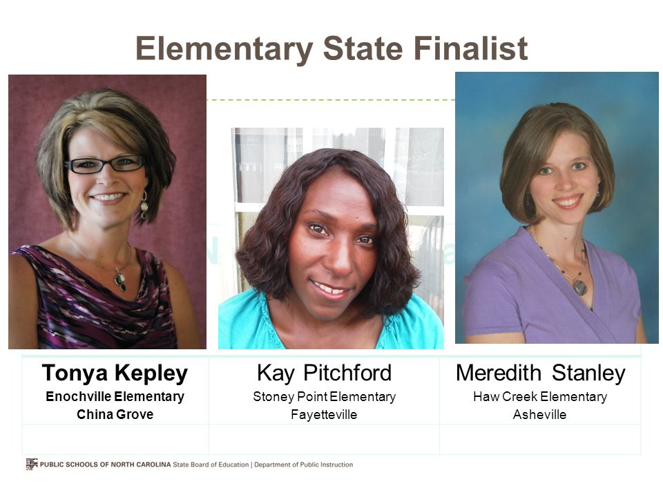 Elementary State Finalist 2012 North Carolina State Finalist Tonya Kepley Enochville Elementary China Grove Kay Pitchford Stoney Point Elementary Fayetteville Meredith Stanley Haw Creek Elementary Asheville